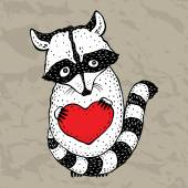 Raccoon carrying a heart. — Stock Vector