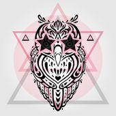 Owl. Tribal pattern — Stock Vector