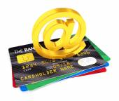 At symbol and credit cards — Stock Photo