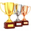 Three trophy cups in a row — Stock Photo #58757385