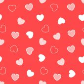 Red seamless hearts pattern — Stock Vector