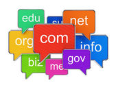 Speech bubbles with domain names — Stock Photo