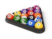 Pool balls triangle — Stock Photo