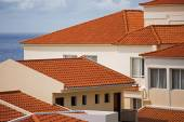 Fragments of houses with tiled roof — Foto de Stock