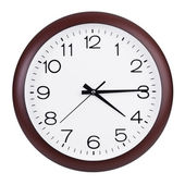 Clock shows fifteen minutes of the fifth — Stock Photo