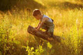 Little boy sitting on a snag — Stock Photo