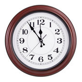 Round clock shows five minutes to twelve — Fotografia Stock