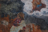 Fresco in an ancient temple depicting saints — Stock Photo