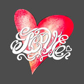 Heart symbol of love and Valentines day lettering — Stock vektor