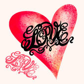 Heart symbol of love and Valentines day lettering — Vector de stock