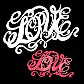 Symbol of love and Valentines day lettering — Stockvector