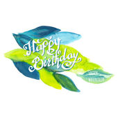 Happy birthday watercolor doodle lettering — Stock Vector