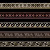 Greek border ornaments. Seamless decoration patterns. — Cтоковый вектор