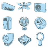 Air conditioners and ventilators — Stock Vector