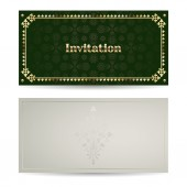 Vector vintage luxury horizontal invitation with a beautiful pattern and border. — Vetor de Stock