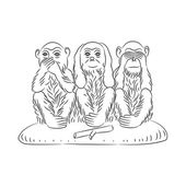 Three wise monkeys. — Stock Vector