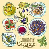 Set of mediterranean food — Stock Vector
