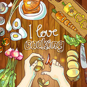 Illustration of cooking — Vector de stock