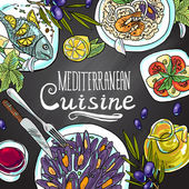Mediterranean cuisine — Stock Vector