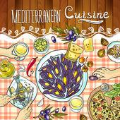 Mediterranean cuisine. — Stock Vector