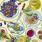 Simpless hand-draw pattern mediterranean food — Stock vektor