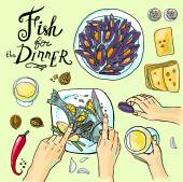 Fish for dinner — Stock Vector