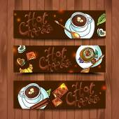 Beautiful banners hot chocolate — Stock Vector