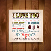 I Love You In Seven Languages — Stock Vector