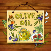 Hand-draw beautiful poster olive oil — Stock Vector