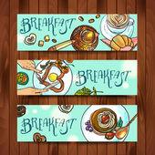 Beautiful banners breakfast — Stok Vektör