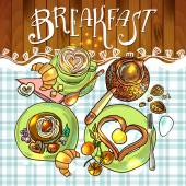 Beautiful illustration  breakfast — Stock Vector