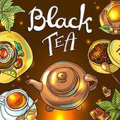çay arka plan — Stok Vektör