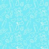 Newborn boy seamless pattern — Stock Vector