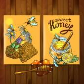 Honey flayers — Stock Vector