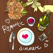 Romantic dinner — Stock Vector