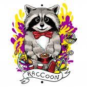 Raccoon drinks tea — Vector de stock