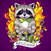 Raccoon drinks tea — Stockvector