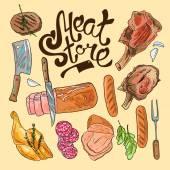 Sklep mięso — Wektor stockowy