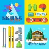 Ski illustrations — Stock Vector