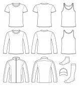 Singlet, T-shirt, Long-sleeved T-shirt, Jacket, Socks and Cap te — Stock Vector