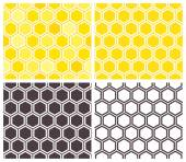 Honeycomb seamless pattern set — Stockvektor
