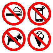 No smoking, No cell phone, No dogs and No eating prohibited sign — Stock Vector