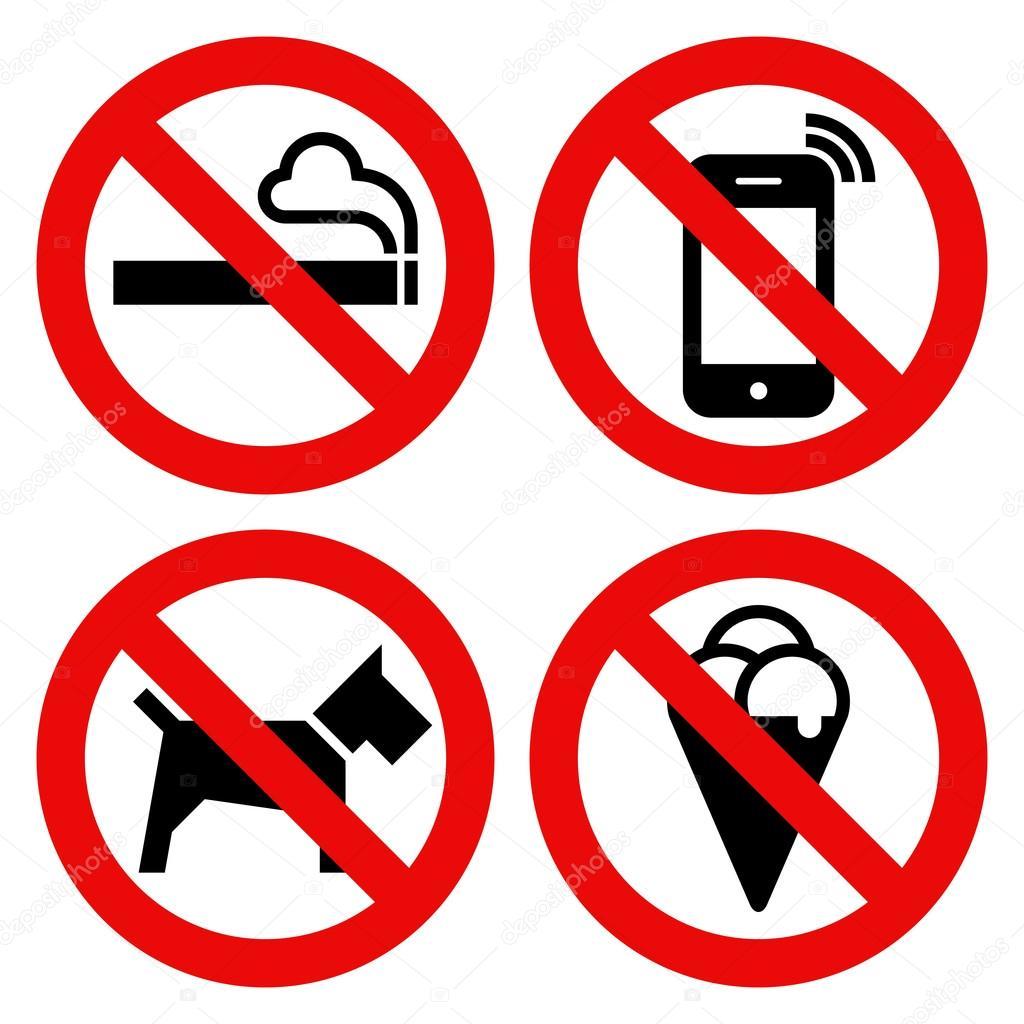 nicht rauchen kein handy keine hunde und kein essen verboten schild stockvektor 68142223. Black Bedroom Furniture Sets. Home Design Ideas
