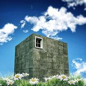 Concrete cubic house — Stock Photo