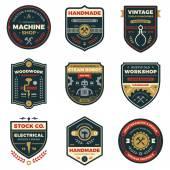 Vintage workshop badges — Stock Vector