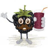 Blackberry fruit mustache — Stock Vector