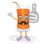 Carrot juice mustache — Stock Vector