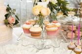 Sweets  cake candy pastry cooking banquet buffet sweet table wedding celebration beautiful tenderness party birthday decorations decorator outdoors open air — Stock Photo