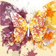 Grunge art background with butterfly made from swirls and ink sp — Stock Vector