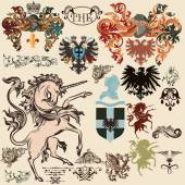 Collection of vector heraldic elements in vintage style — Stock Vector
